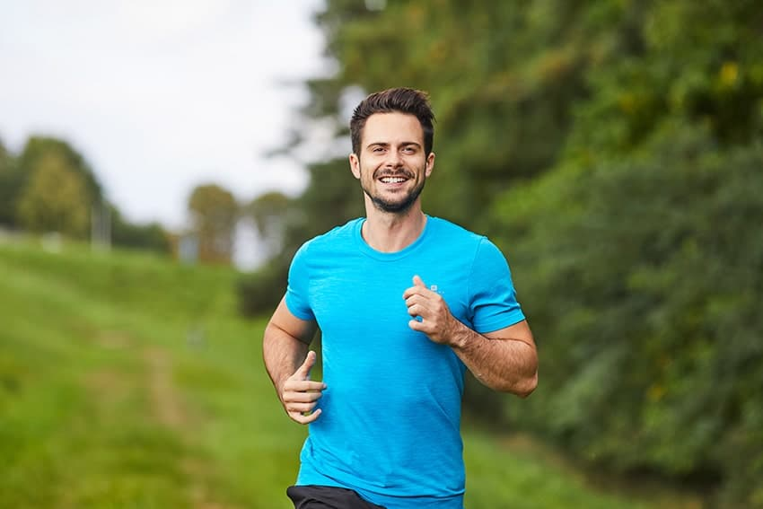 man enjoying a run outside